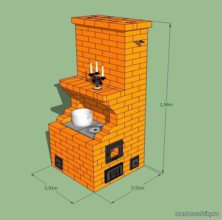 Как сложить печь с плитой своими руками порядовка